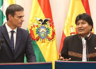 Pedro Sánchez con Evo Morales